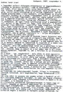 Palsáti György a szerzőhöz írt levele a falukönyvről. Csáky Károly repr.
