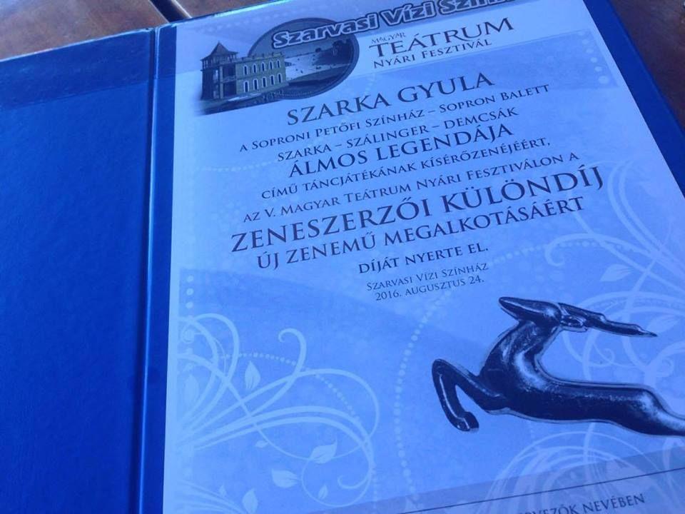A fesztivál zsűrije zeneszerzői különdíjjal ismerte el az új zenemű megalkotását. Fotó: Sz. Gy. archívuma