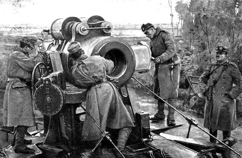 Magyar nehéztűzérségi ütegállás a galíciai fronton
