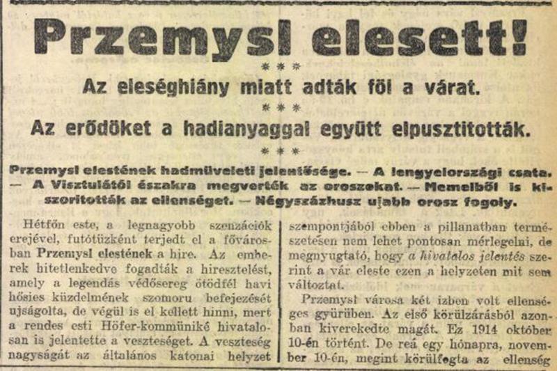 Egy korabeli sajtóhír Przemysl elestéről