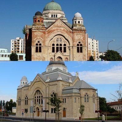 A zsinagóga tíz éve, és ma. (Fotó: Balassa Zoltán/Felvidék.ma)