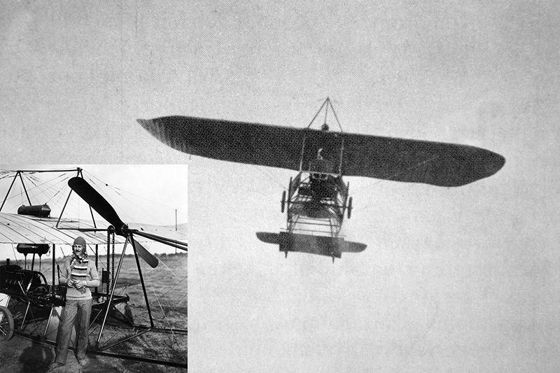 Székely Mihály és monoplánja 1911-ben. (Fotó: Németh István archívuma)
