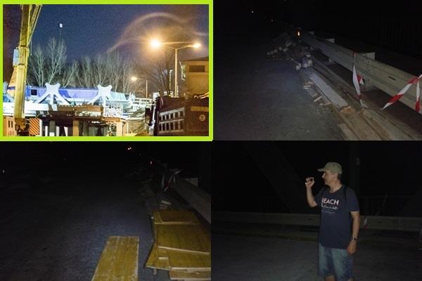 A zölddel jelölt fotó a pozsonyi híd javításánál, a többi kép pedig a medvei hídnál készült. (Fotó: Somogyi Szilárd/Felvidék.ma)
