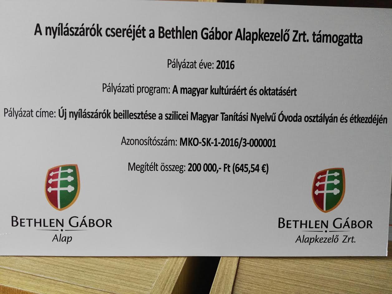A Bethlen-alapítvány segített. (Fotó: Beke Beáta/Felvidék.ma)