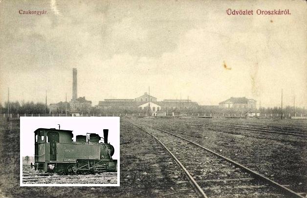 Az oroszkai cukorgyár és az egyik kismozdony.