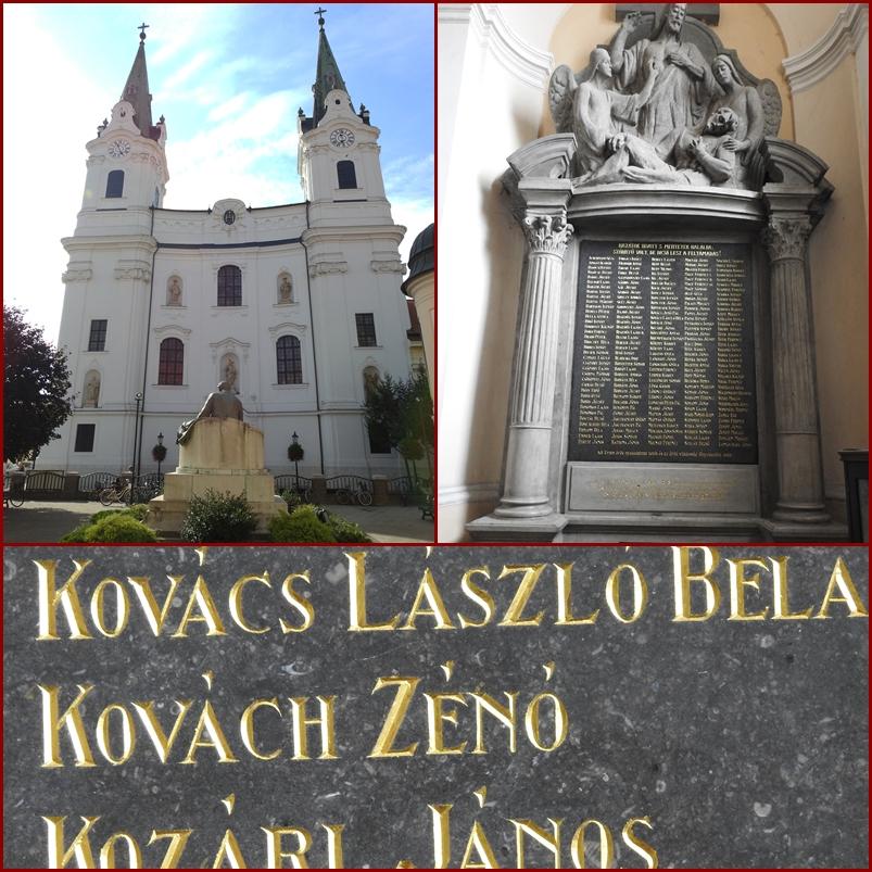 Az első világháború komáromi hősi halottainak emléktáblája a Szent András-templomban (Fotó: Németh István)