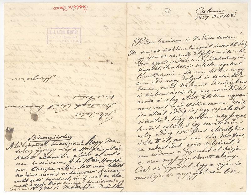 Madách Csalomján keltezett levele 1859-ben. (Fotó: Csáky K. repr.)