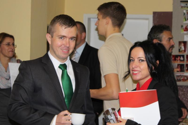 Varga Tibor és a mátyusföldi Bózsing Katalin a Csemadok közgyűlésén (Fotó: Neszméri Tünde/Felvidék.ma)
