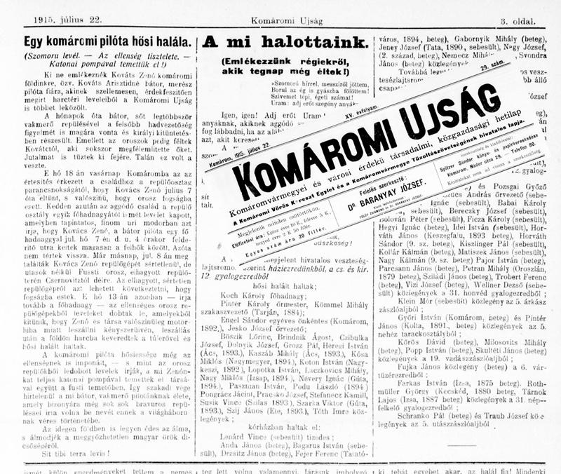 Zénó haláláról tudósító cikk a Komáromi Ujság hasábjain (Fotó: Németh István)