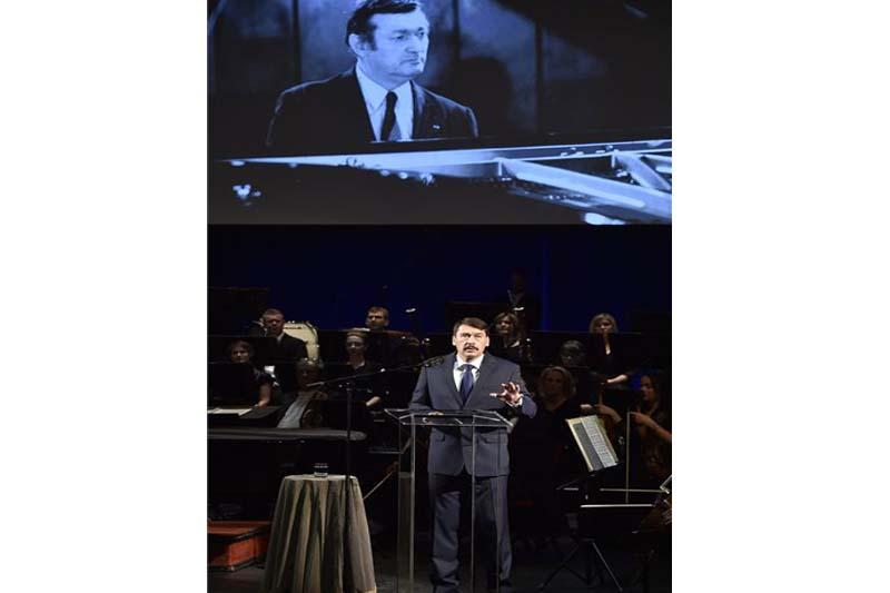 Áder János köztársasági elnök az Erkel Színházban rendezett díszelőadáson mondott köszöntőt (Fotó: MTI)