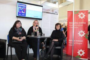 Miroslava Vallová, Deák Renáta és Hizsnyai Ildikó pozitívan értékelték, hogy a budapesti könyvhét vendége Szlovákia volt (fotó: Neszméri Tünde/Felvidék.ma)