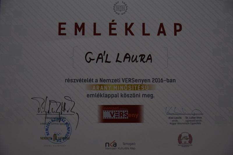 A felvidéki versenyző, Gál Laura emléklapja (Fotó: Gál Sándor)