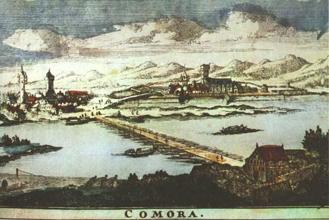 Az első hajóhíd a komáromi vár és a Szent Péter palánk között az 1580-as években (Kép: a szerző archívuma)