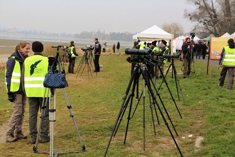Teleszkópos megfigyelők a Száz Völgy Természetvédelmi Egyesület munkatársaival (Fotó: Berényi Kornélia)