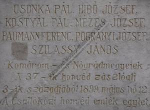 Az emlékmű felirata (Fotó: csemadok.sk)
