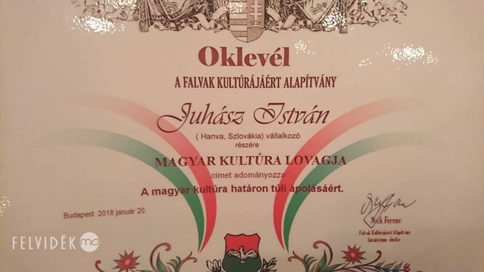 Juhász István a Magyar Kultúra Lovagja, akkor érzi jól magát, ha másokat boldogulni lát