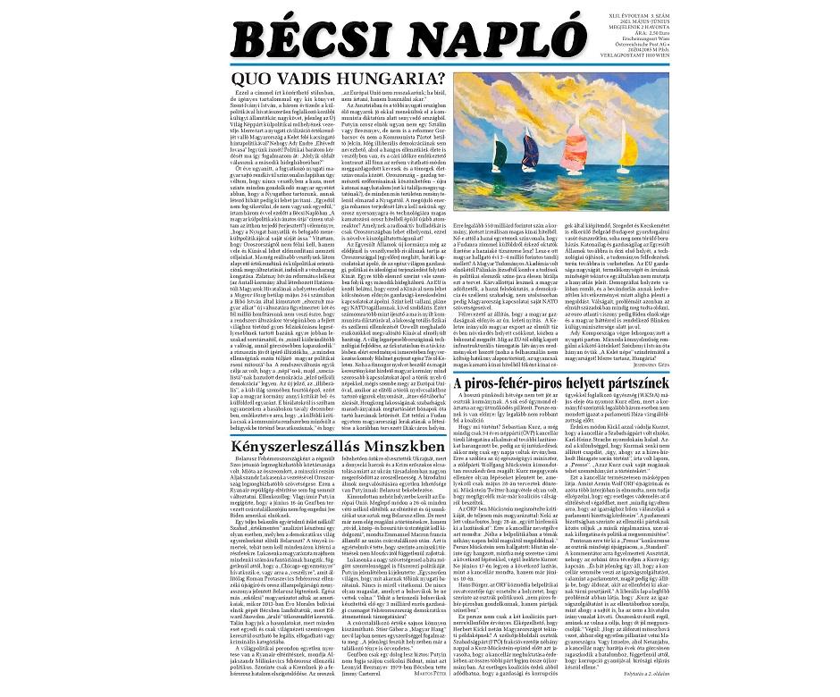Politikai körkép, versek, könyvismertetések a Bécsi Napló legújabb számában